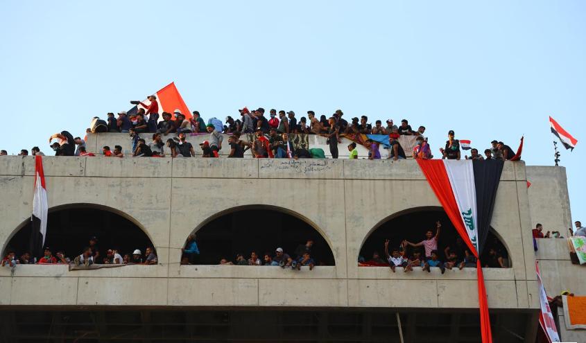 ساختمان توخالی، مقر معترضان عراق (