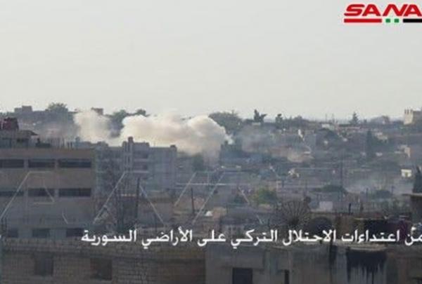 حملات توپخانه ای ارتش ترکیه و عوامل آن به منطقه ها مسکونی شمال سوریه